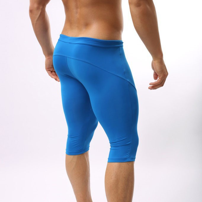 c471285af6e1d Men's Clothing Spandex Tights Men Elastic Solid Shorts Homme Compression  Knee Length Shorts Sexy Male Long Boxer Men Joggers-in Casual Shorts from  Men's ...