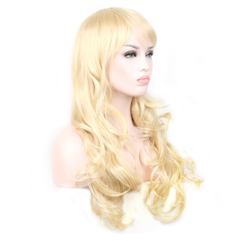 WoodFestival 28 inch Women Wavy Long Synthetic Wig Heat Resistant High Temperature Fiber Cosplay Wigs with bangs in Synthetic None Lace Wigs from Hair Extensions Wigs