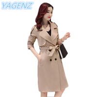 YAGENZ Plus Size Female Windbreaker 2017 Spring Autumn New Solid Color Trench Coat Women Splice Long