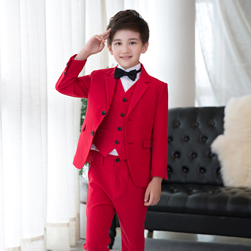 High quality boy costume, boy red suit piano suit 5PCS (jacket + vest + pants + shirt + tie) t016 new fashion boy suit jacket children show host children s piano vest suit t shirt vest pants bow tie boy blazer suit