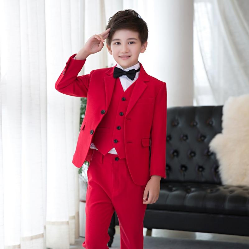High quality boy costume, boy red suit piano suit 5PCS (jacket + vest + pants + shirt + tie) high quality boy costume boy red suit piano suit 5pcs jacket vest pants shirt tie