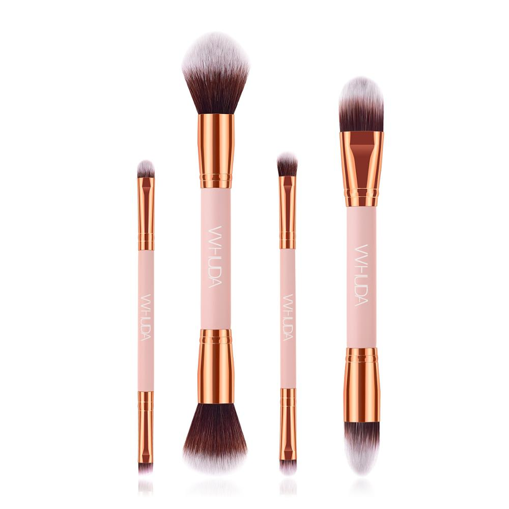 vvhuda conjunto de pinceis de maquiagem kit de 4 pinceis de maquiagem com ponta dupla face