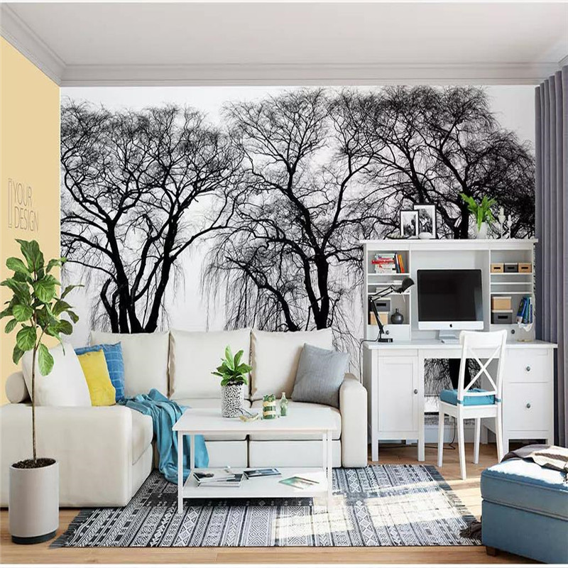 Customized high-end wallpaper park three big trees beautiful photography background wall waterproof material