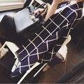 Nuevo 2016 Za marca Diseño Invierno tamaño grande A Cuadros conejo Bufanda de La piel mujeres Unisex Chales y Bufandas de cachemira Chales Básicos poncho