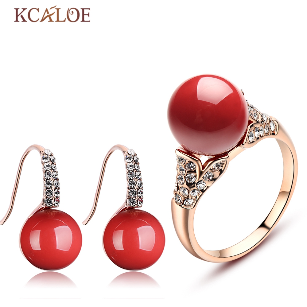 KCALOE Rhinestone Crystal Jewelry Set Fashion Round Ball Rose Gold Color Accessories Red Artificial Coral Earrings Ring Sets