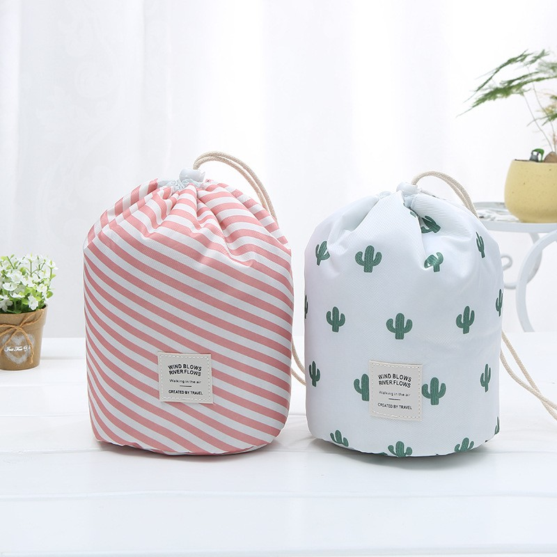 New Women Drawstring Makeup Bag Travel Cosmetic Bag Color Round Bucket Organizer Waterproof Toiletry Beauty Kit Storage Pouch