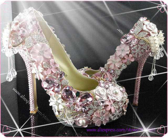 Aliexpress.com : Buy pink platform crystal shoes wedding new ...