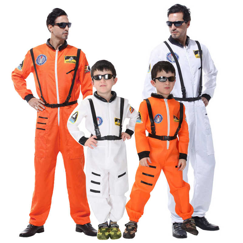 Halloween Party Astronaut Costumes For Adult Men Kid Boy Book Week Orange White Space Flight Polit Jumpsuit Outfit,Free shipping