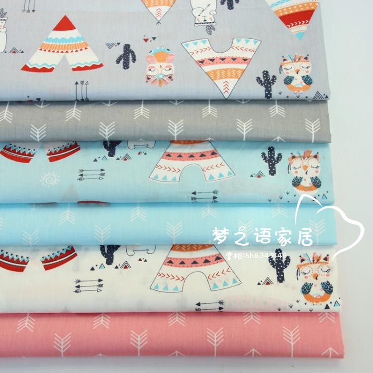 160cm*50cm cotton fabric cartoon Tent Indian Bear fabric baby DIY bedding apparel dress patchwork fabric kids handwork cloth