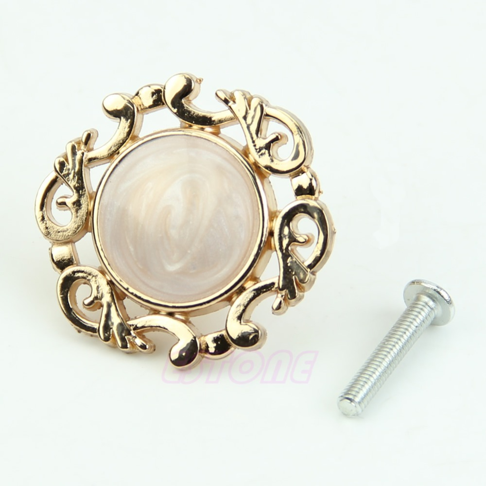 F85  Gold Single Knobs Vintage Resin Door Cabinet Cupboard Drawer Pull Handles 1pc rovertime rovertime rtm 85