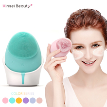 Candy Color Ultrasonic Electric Silicone Facial Cleansing Brush Waterproof Wireless Face Cleansing Instrument Washing Brush