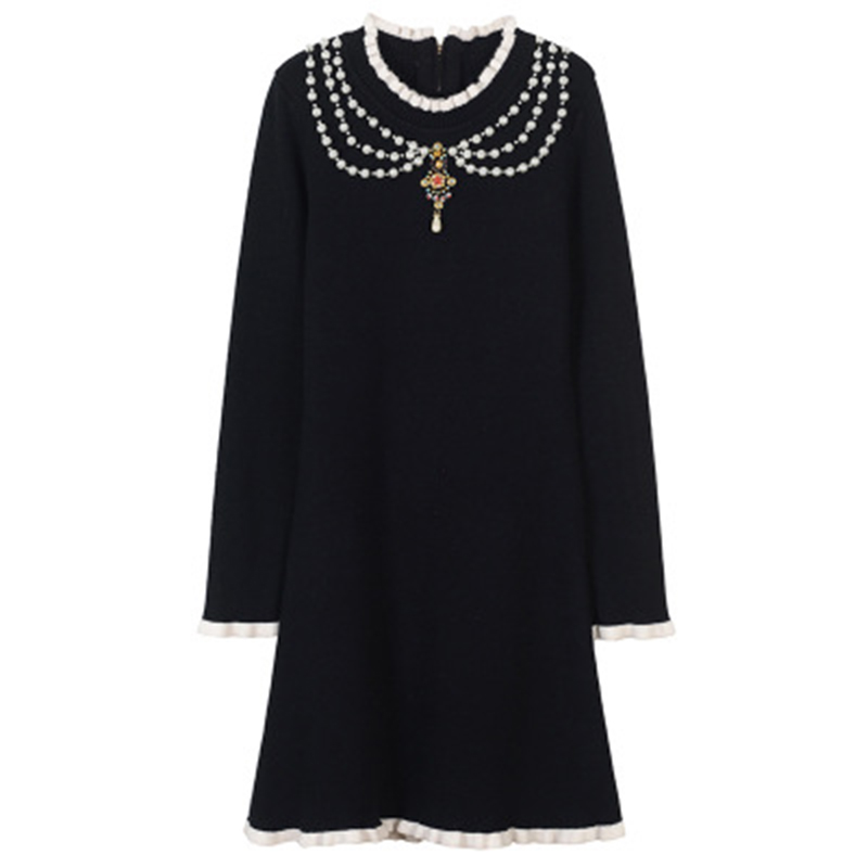 Summer Vintage Black Pearls Necklace Knitted Dress Mini Women 2018 Runway Long Sleeve Diamond Party Dress Short A Line Vestidos карабин black diamond black diamond rocklock twistlock