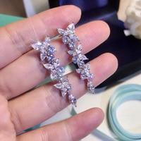 2019 Fashion Luxury Brand 925 Sterling Silver Jewelry Luxury Fine Tassel Dangle Flower Earrings Crystal Stone For Women