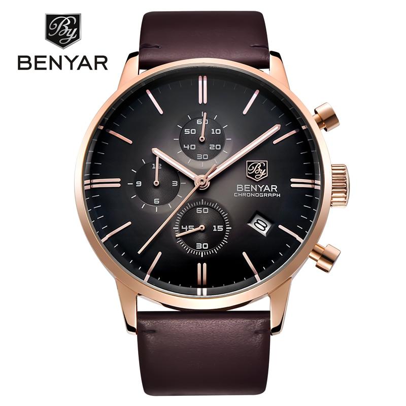 Reloj Hombre 2016 BENYAR Fashion Leather Strap Mens Watches Top Brand Luxury Stainless Steel Case quartz-watch Relogio Masculino стоимость