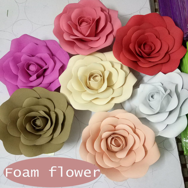 Aliexpress buy 10cm 3d foam flower wedding decoration large 10cm 3d foam flower wedding decoration large artificial flowers pink white red handmade romantic party paper mightylinksfo