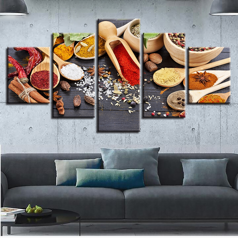 Canvas Pictures Restaurant Wall Art HD Prints 5 Pieces