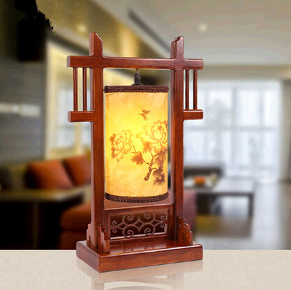 Chinese classic style wood carved Table Lamps Fashion warm romatic imitation silk parchment lamp for narrow table&bedroom MF004
