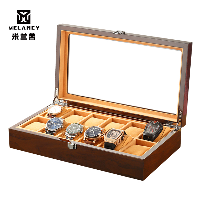 luxury wood watch packing box piano lacquer displaying stainless black brown watch case box