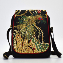 2018 Chinese Phoenix Embroidered Small Shoulder Bag Golden Sequins National Flower Embroidery Vintage Canvas Messenger Bags girls fashion national trend embroidery shoulder hand bags women single faced flower embroidered one shoulder bag large handbag