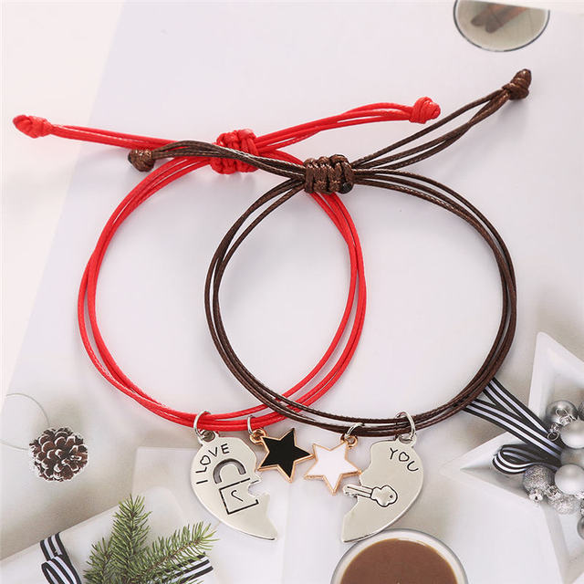 Photo bracelet de distance couple rouge et noir