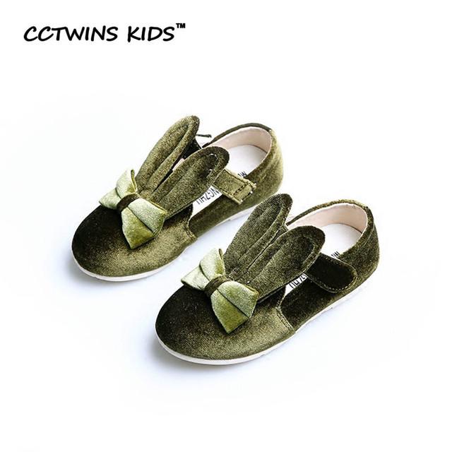 CCTWINS CRIANÇAS 2017 Primavera Sapato Cinta Coelho Rosa Da Menina Do Bebê Crianças Partido Verde De Couro Pu Marca Garoto de moda Mary Jane Plana G1057