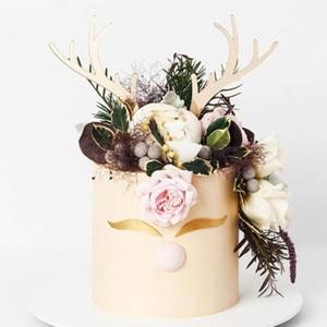 Image 3 - 2Pcs Merry Christmasเค้กอะคริลิคTopper GoldกวางกวางกวางกวางAntlersอะคริลิคCupcake Topperสำหรับตกแต่งเค้กปาร์ตี้Xmas 2021