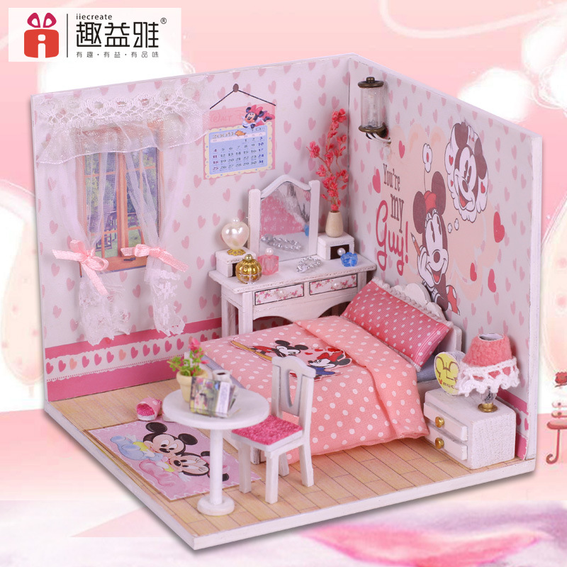Mickey Mouse Clubhouse Miniature Doll House Model Building Kits Wooden  Furniture Toys DIY Dollhouse Miniatura  In Doll Houses From Toys U0026 Hobbies  On ...