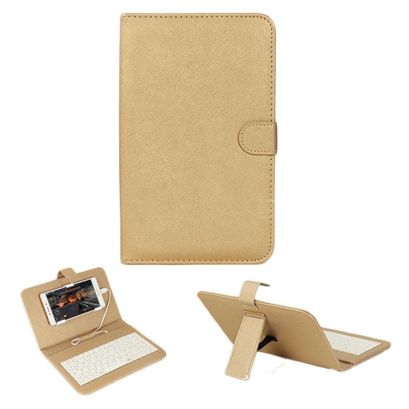 Funda con tapa de cuero con teclado USB para la mayoría de los - Accesorios y repuestos para celulares