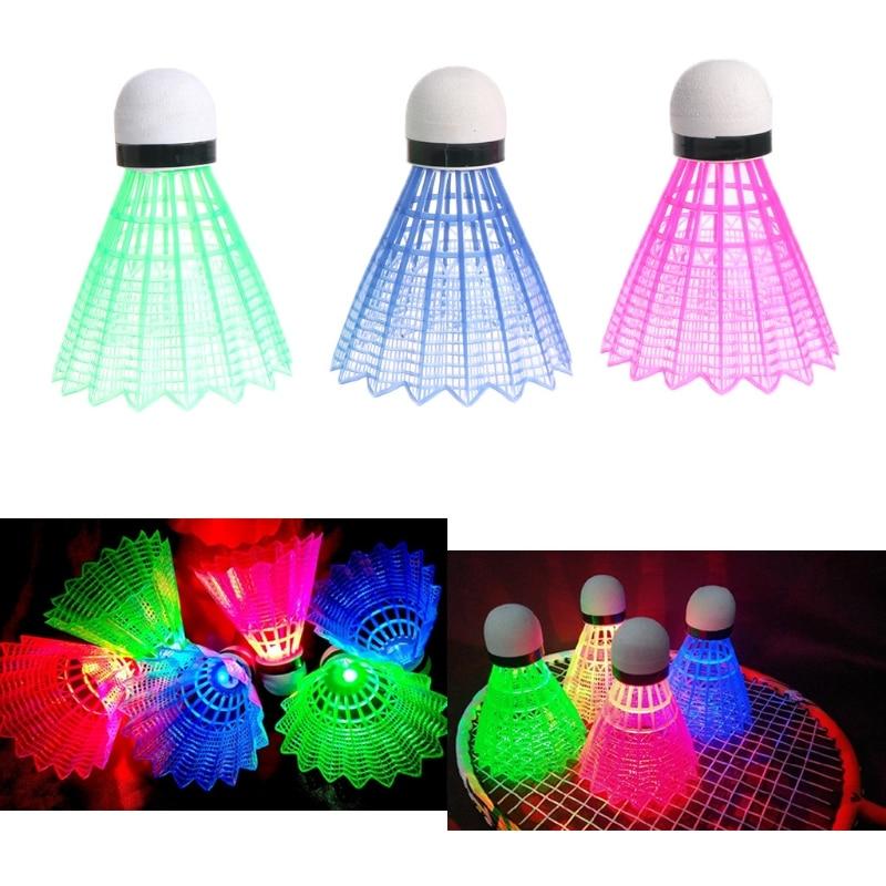 3pcs Dark Night LED Glowing Light Up Plastic Badminton Shuttlecocks Colorful Lighting Balls Indoor & Outdoor Sports