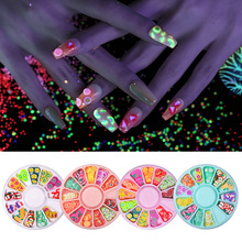 BORN PRETTY Fluorescence Nail Art Studs Fruit Slices Design Neon Jewelry Summer Style Glow in Dark 3D Decorations Wheel