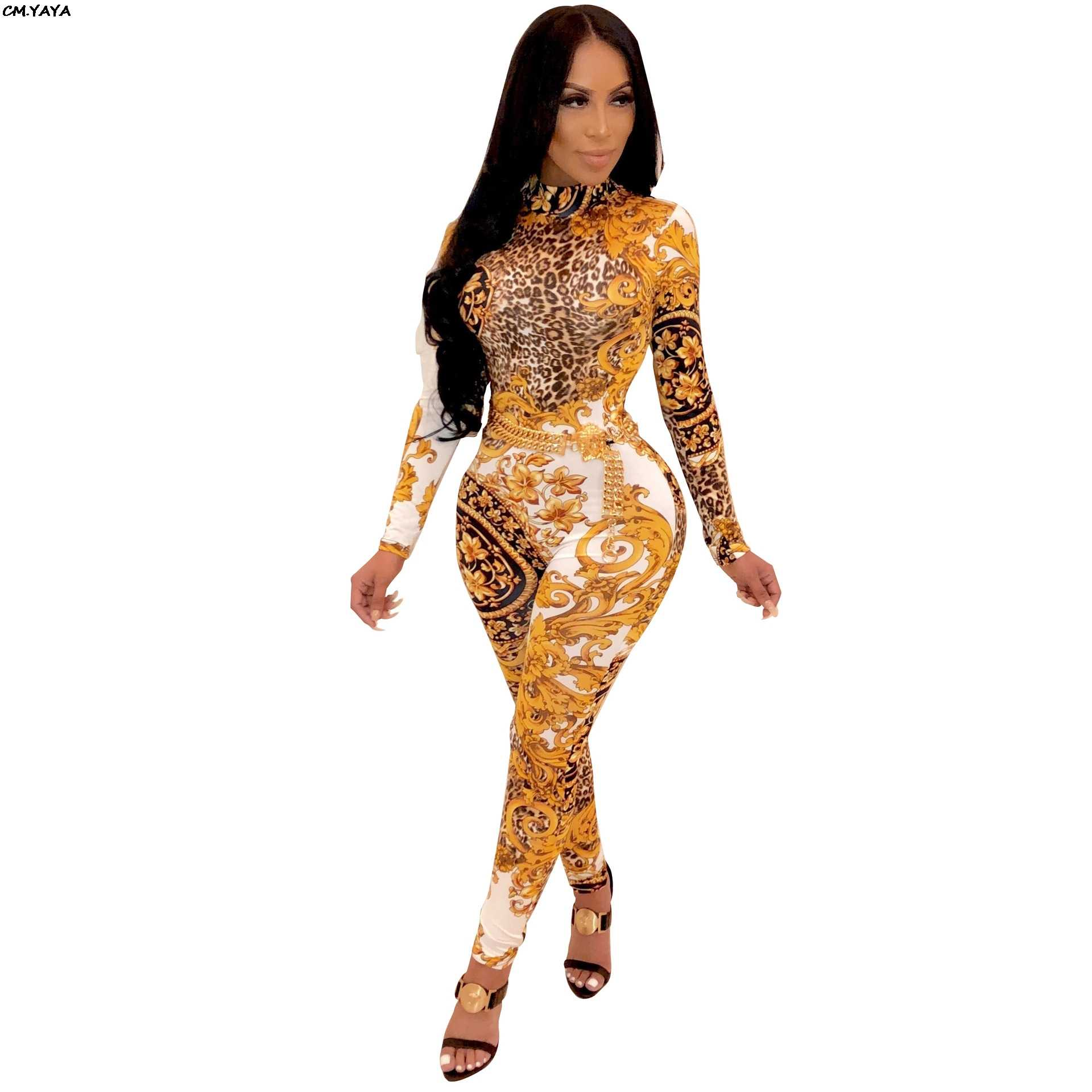 6afcede712a 2019 new women stand neck gold floral paisley vintage printed open back sexy  skinny bodycon jumpsuit