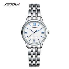 SINOBI Señoras Reloj de la Marca 2016 Moda Casual Reloj de Acero Completo Reloj de Las Mujeres de Plata Montre Femme Marca De Lujo Impermeable de los Relojes