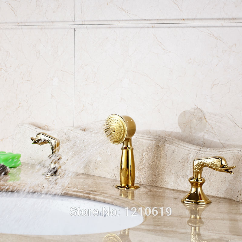 Newly Gold Plate Bathroom Tub Faucet Set Handheld Shower w/ Dual Handles Basin Faucet Set Sink Mixer Tap fie new shower faucet set bathroom faucet chrome finish mixer tap handheld shower basin faucet
