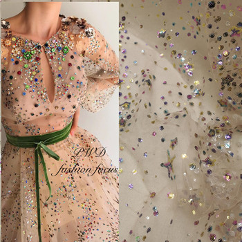 stock 10 yards colorful star mesh dress lace hand print sparkle sequin paillette embroidery mesh lace for bridal wedding dress