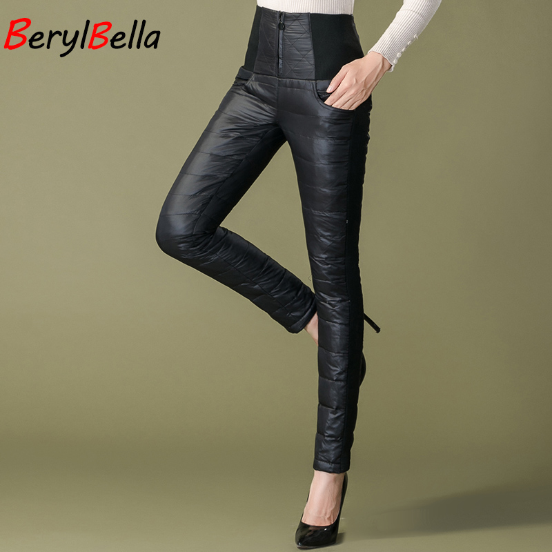 Women Pants Winter 2018 Casual Slim Thick Warm Trousers High Waist Outer Wear Christmas Women Duck Down Pants Skinny Female