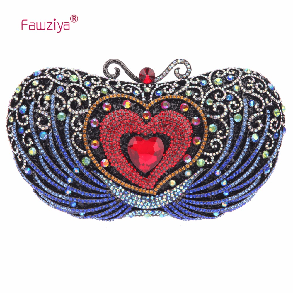 Fawziya Big Diamond Heart Clutch Purses For Women Evening Bag Crystal women custom name crystal big diamond clutch women evening clutch bag 1020bg