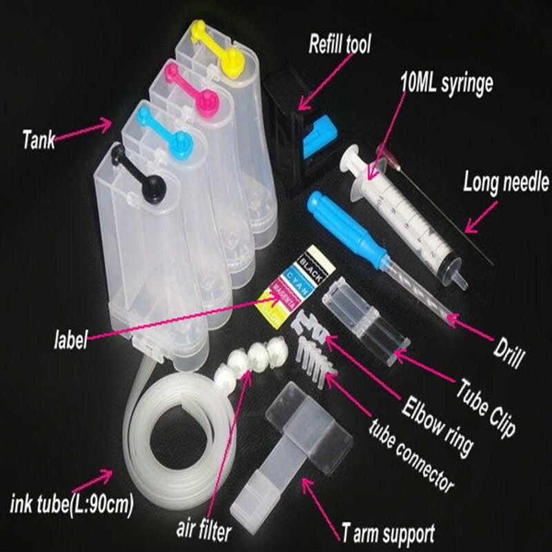 Universal DIY CISS kits 4 farbe CISS tintenbehälter zubehör Ersatz für HP 21 22 60 61 56 57 74 75 901 121 300 122 301 Tinte Ciss