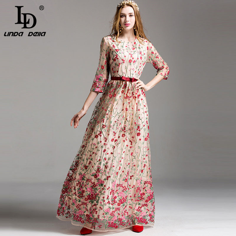 High Quality New 2017 Fashion Runway Maxi Dress Womens elegant 3/4 Sleeve Floral Embroidery Vintage Party Long Dress