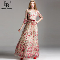 High Quality New 2017 Fashion Runway Maxi Dress Women S Elegant 3 4 Sleeve Floral Embroidery