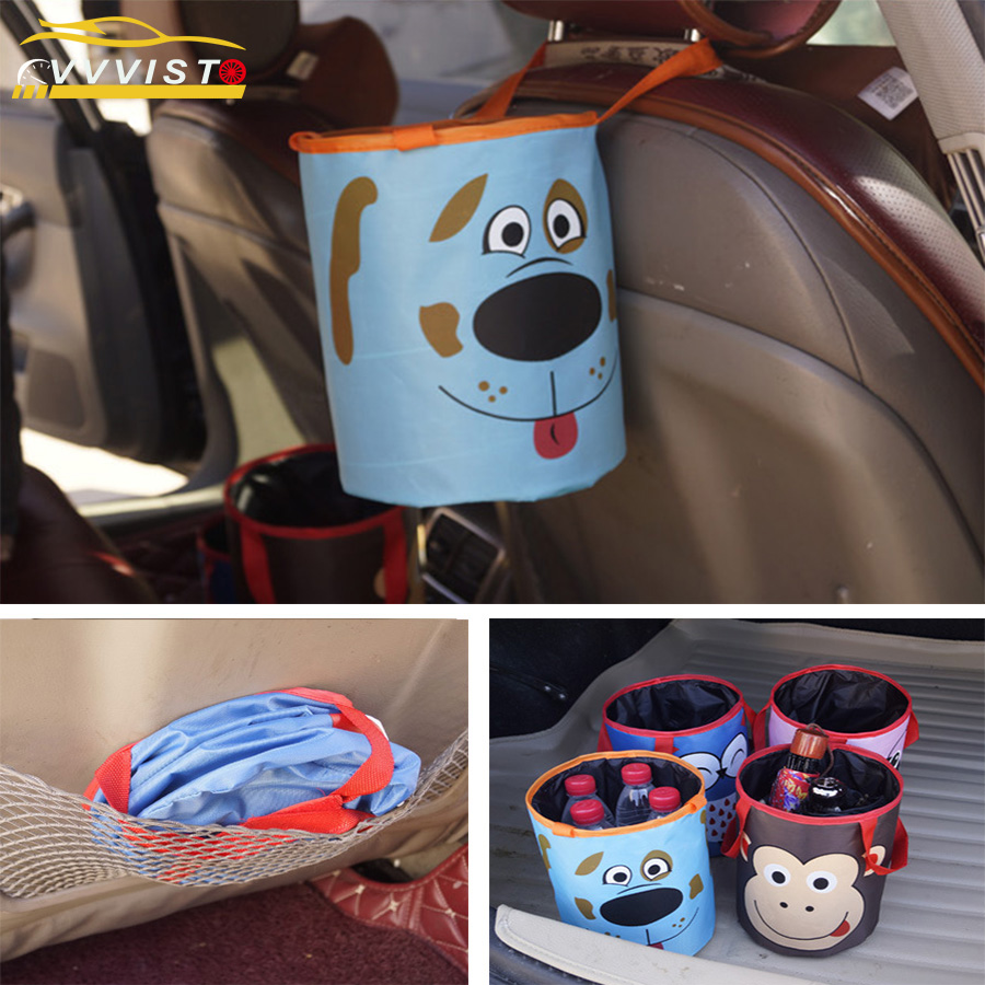 2018 VVVIST Car Trash Bin Auto Organizer Storage Box Car Trash Can Rubbish Garbage Holder Seat Back Bag Bucket Accessories