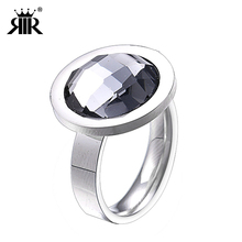 RIR One Big AAA Crystal Stainless Steel Silver Round Women Ring Engagement Gifts Size 6-9