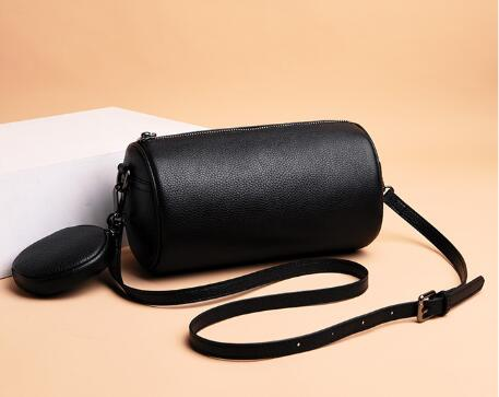 First Layer Korean Style Women's Shoulder Bag All Match Cowhide Leather Small Barrel Shaped Lady's Messenger Bag