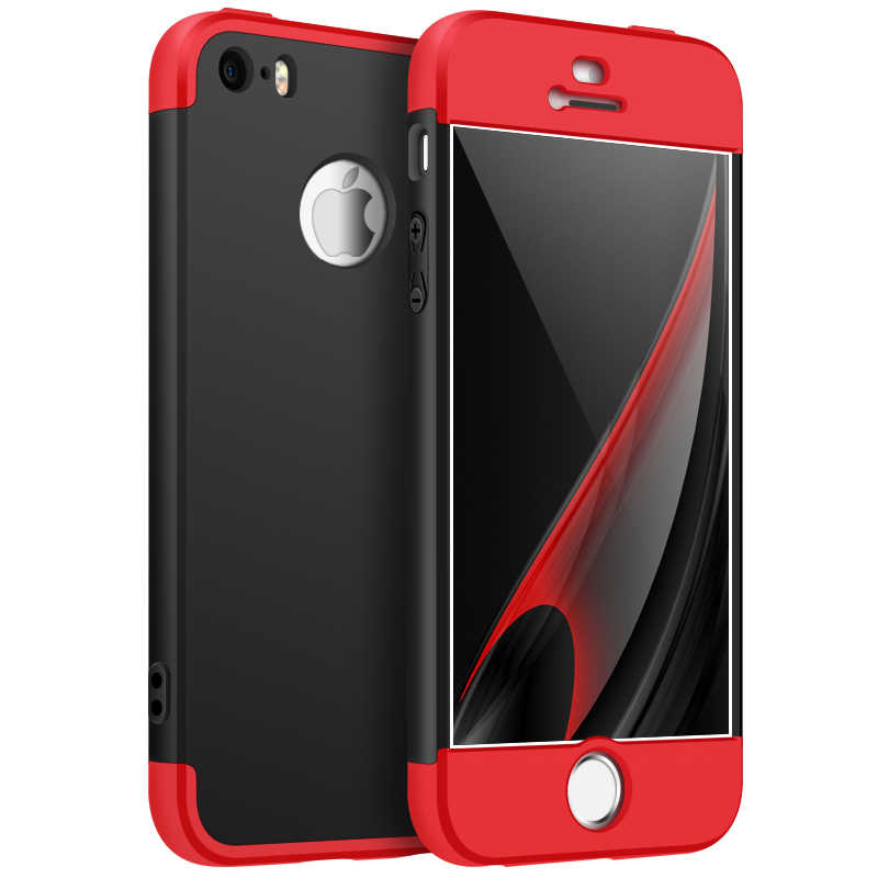 For Coque iphone 5 5S SE 3 in 1 360 Full Protective Ultra Thin Hard PC q50