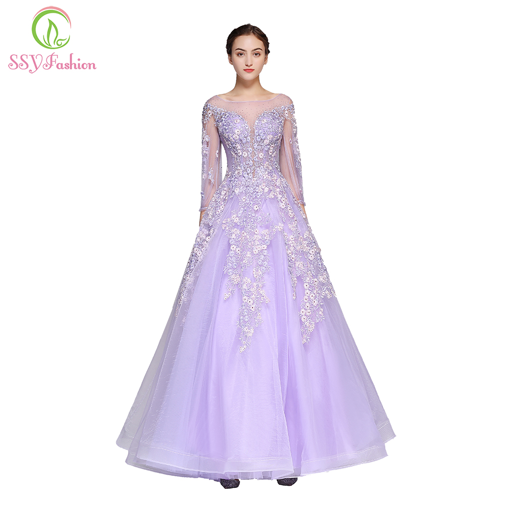 Clearance SSYFashion High-end Prom Dress The Banquet Luxury Purple 3/4 Sleeved Floor-length Lace Appliques Evening Party Gown