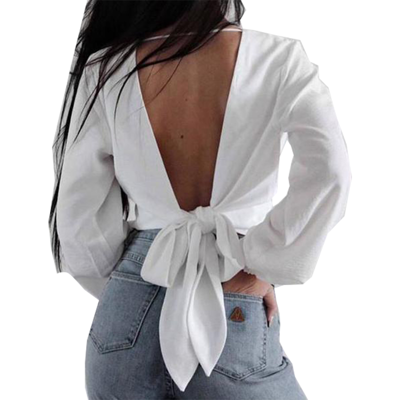 Initiative Blouse Women 2019 New Bow Aliexpress New Explosions V-neck Backless Sexy Chiffon Shirt Vestidos Blk6190 Women's Clothing