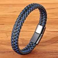 Nouveau hommes bijoux Punk noir bleu tressé Bracelet en cuir pour hommes en acier inoxydable fermoir magnétique mode bracelets cadeaux 6 couleurs