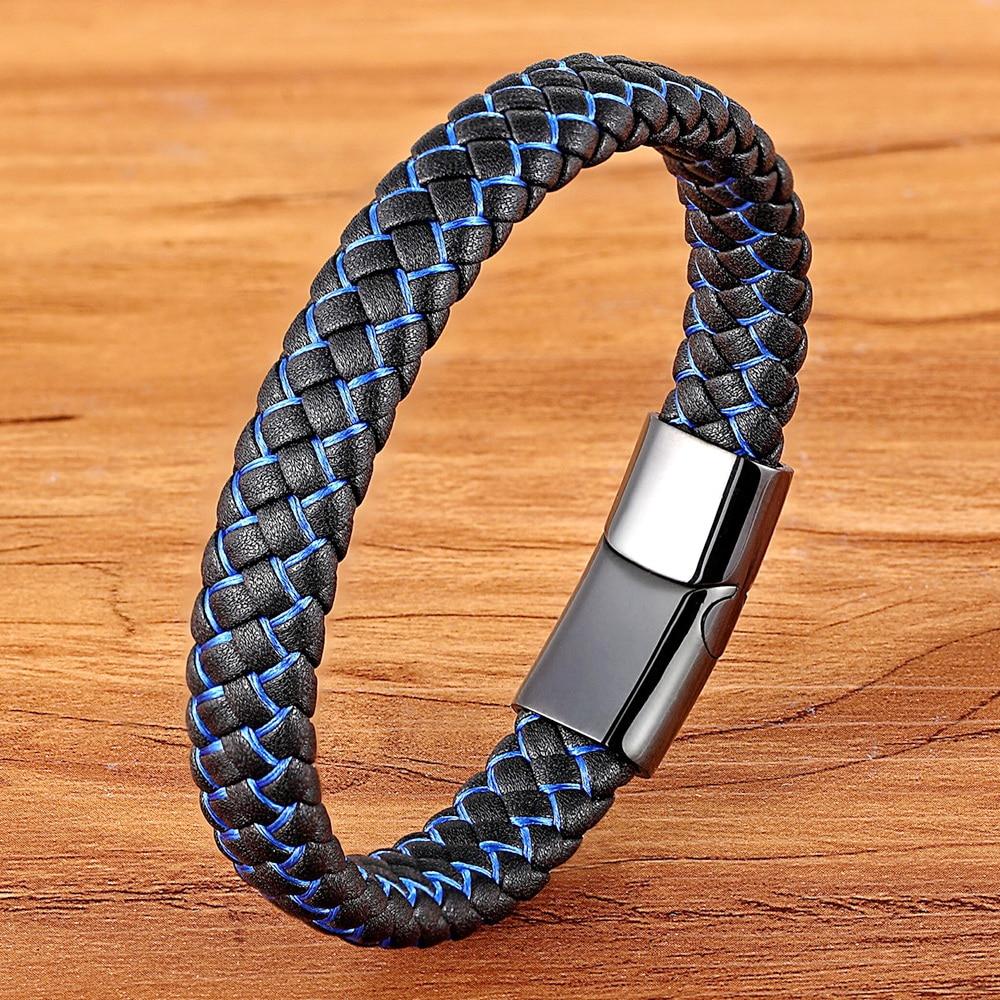 Neue Männer Schmuck Punk Schwarz Blau Geflochtene Leder Armband für Männer Edelstahl Magnetische Verschluss Mode Armreifen Geschenke 6 Farben