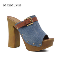 MaxMuxun Shoes Woman Canvas Wooden Chunky Heel Platform Slide Slippers Sexy Ladies Round Peep Toe Buckle