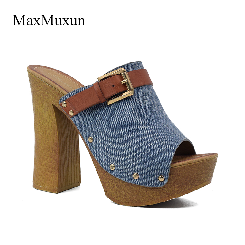 MaxMuxun Shoes Woman Canvas Wooden Chunky Heel Platform Slide Sandals Sexy Ladies Round Peep Toe Buckle High Thick Heels Sandal