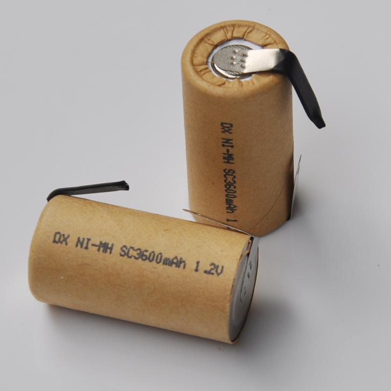 2-5pcs 1.2V SC rechargeable battery 3500mah Sub C size ni-mh ni mh cell with welding tab pin for electric drill vacuum cleaner